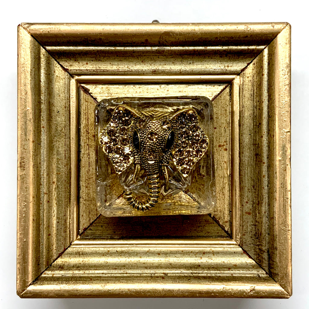 Gilt Frame with Sparkle Elephant Brooch (4