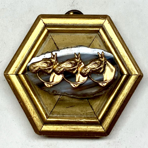 Gilt Frame with Horses on Agate (3.5