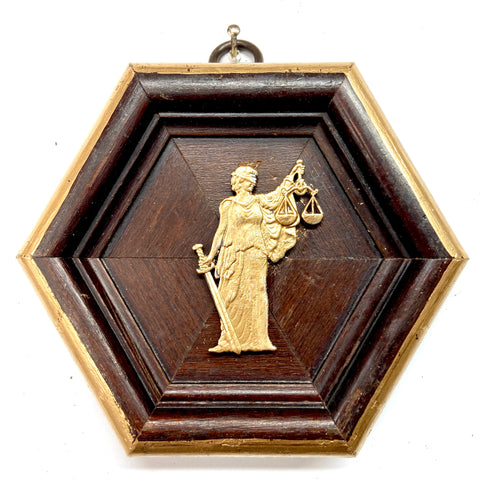 Wooden Frame with Lady Justice (4.25
