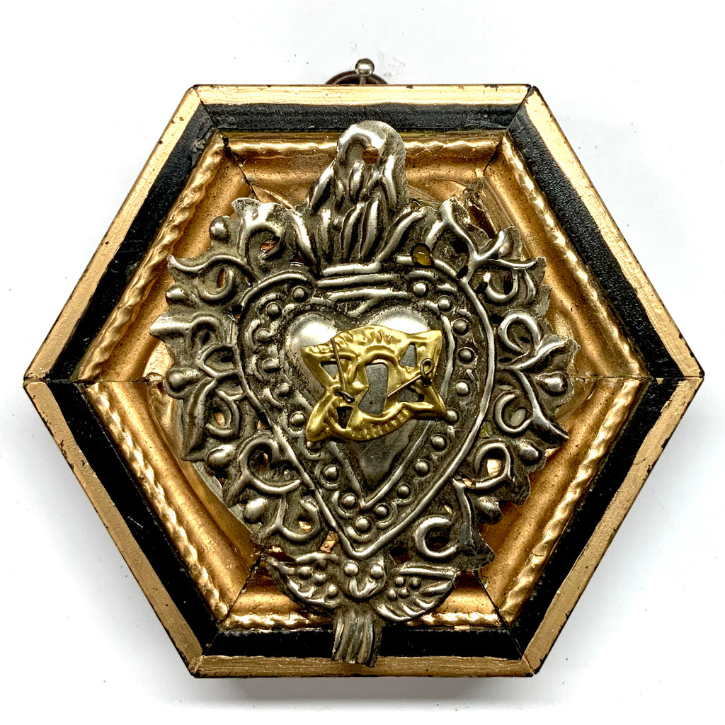 Lacquered Frame with 19th Century Silver Plated Sacred Heart (4.5