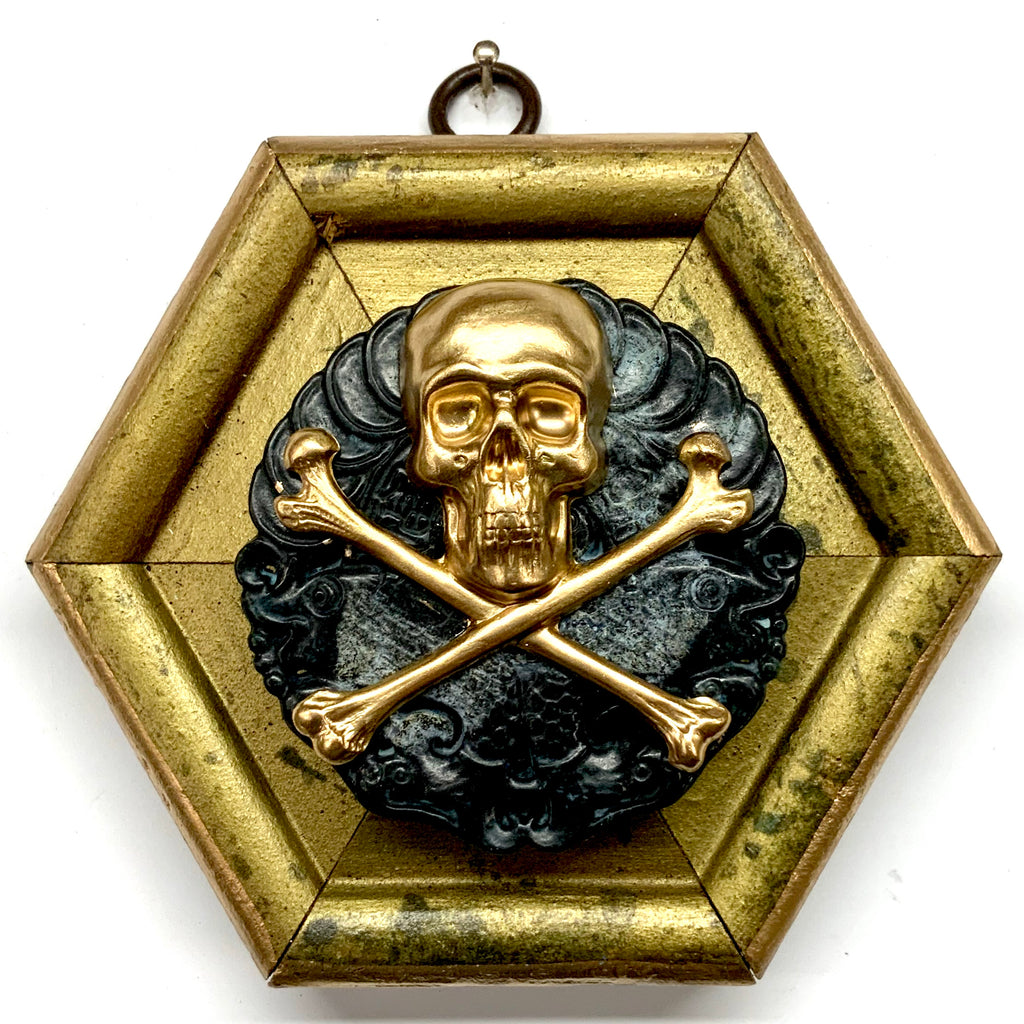 Gilt Frame with Skull and Crossbones on Jade (4.5