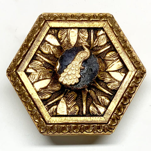 Gilt Frame with Peacock on Quartz (3.5