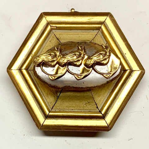 Gilt Frame with Horses on Agate (4