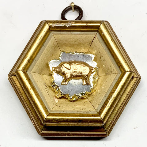 Gilt Frame with Pig on Quartz (3.25