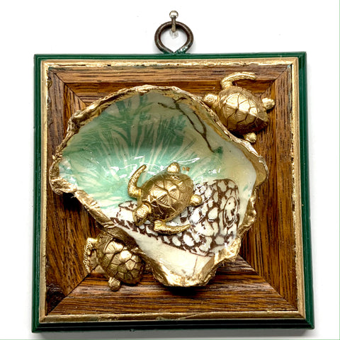 Wooden Frame with Turtles on Oyster Shell (4