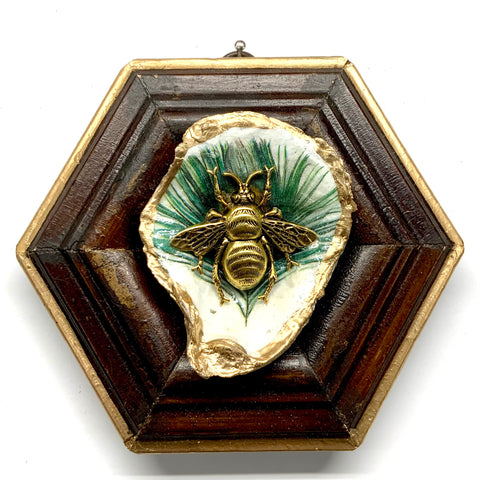 Wooden Frame with Grande Bee on Oyster Shell (5.25