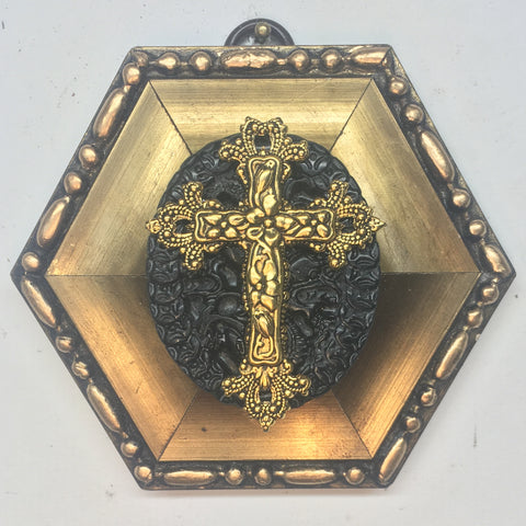 Gilt Frame with Cross on Jade (4