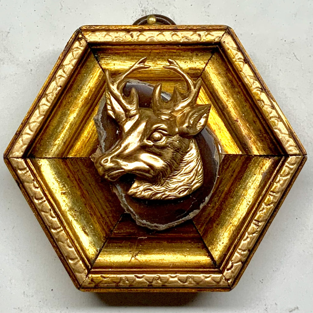 Gilt Frame with Stag on Agate (3.25