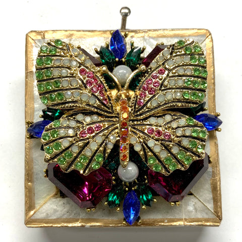Mother of Pearl Frame with Sparkle Butterfly on Brooch (2.25