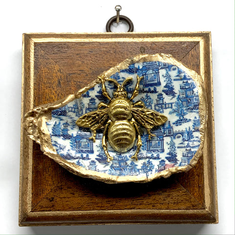 Wooden Frame with Grande Bee on Oyster Shell (3.75