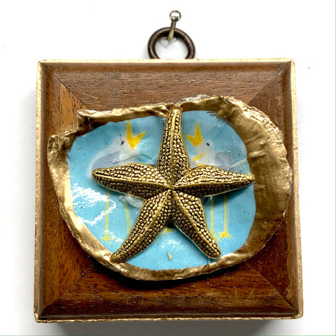 Wooden Frame with Starfish on Oyster Shell (2.75