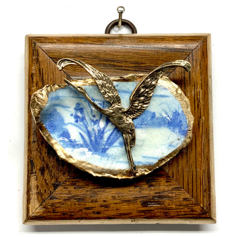 Wooden Frame with Crane on Oyster Shell (3.25