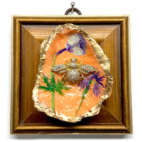 Gilt Frame with Sparkle Bee on Oyster Shell (3.75