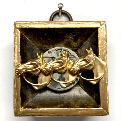 Gilt Frame with Horses on Watch Movement (2