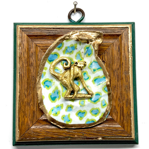 Wooden Frame with Monkey on Oyster Shell (4