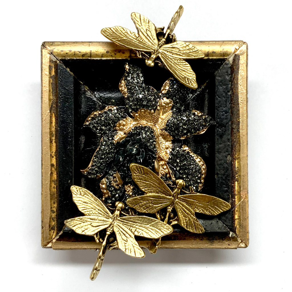 Gilt Frame with Dragonflies on Brooch (3.25