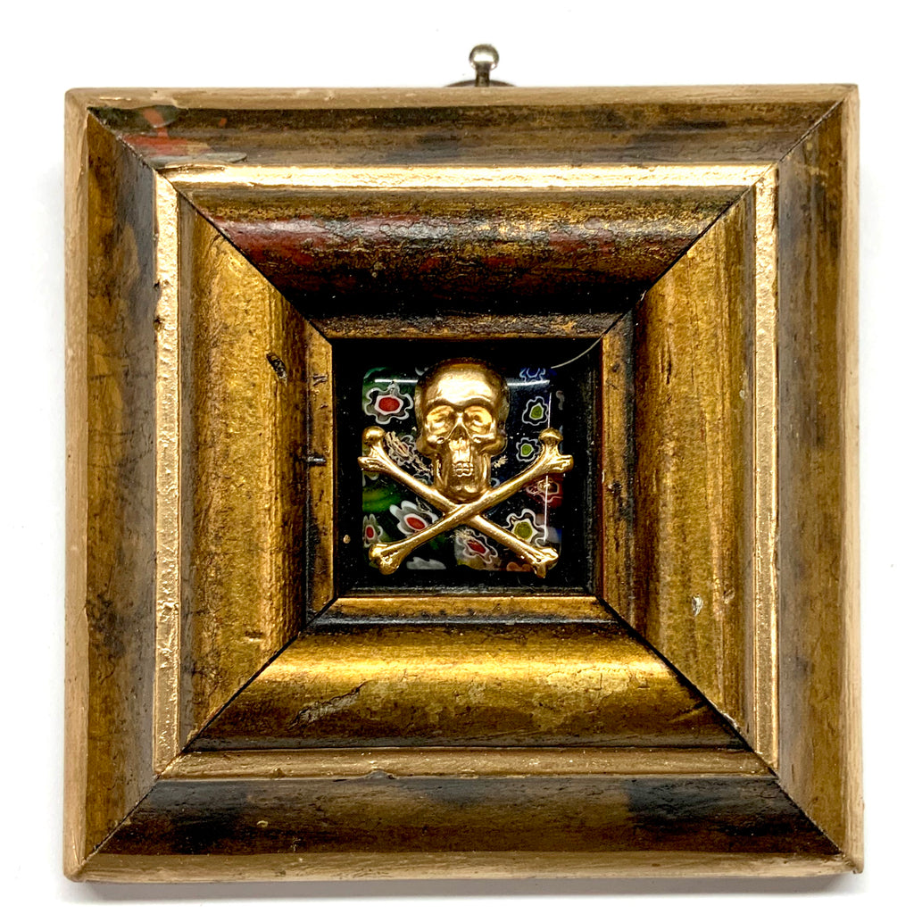 Painted Frame with Skull and Crossbones on Millefleur Stone (3.5