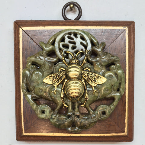 Wooden Frame with Grande Bee on Jade Piece (3.5