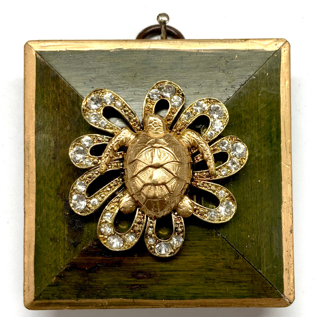 Painted Frame with Turtle on Brooch (2.75