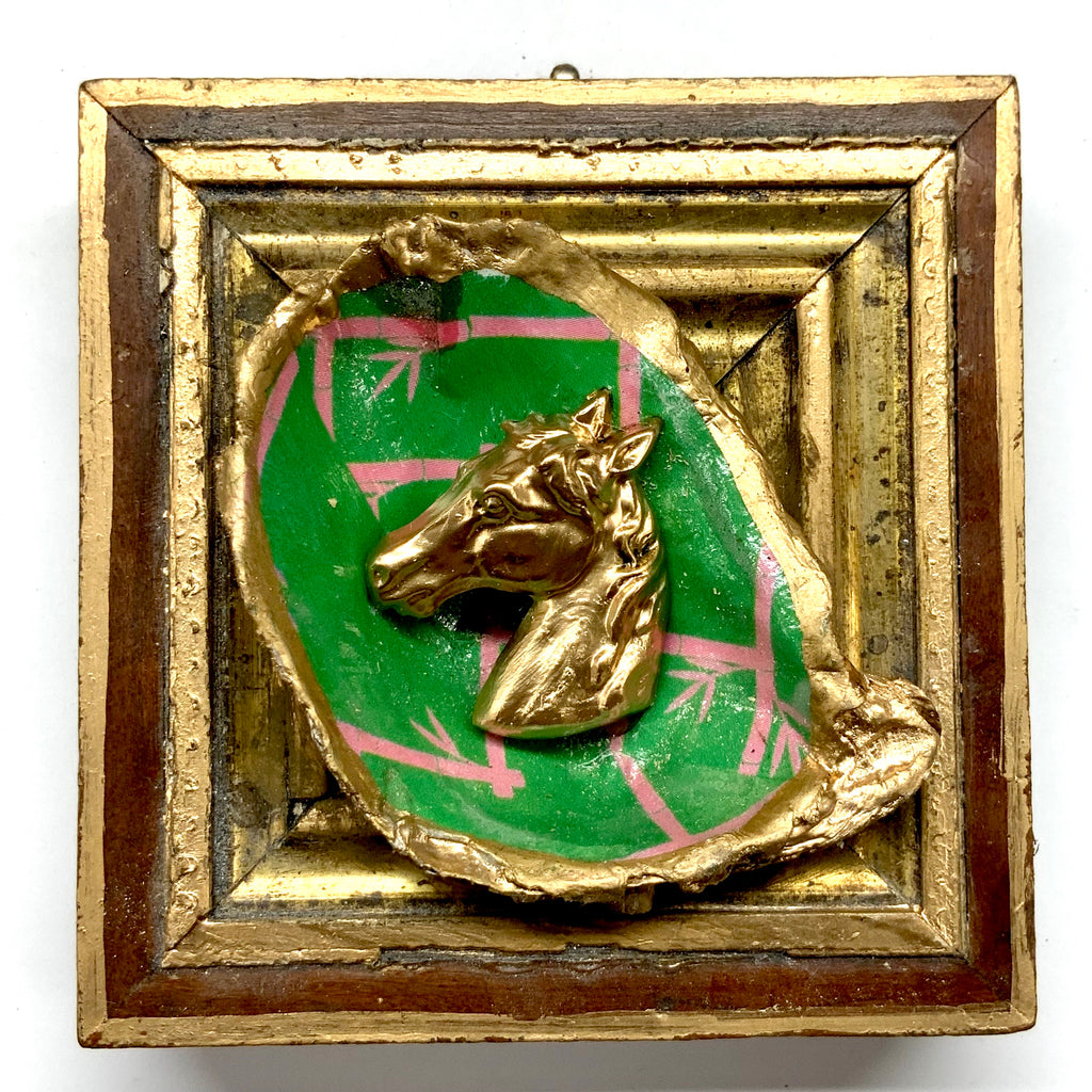 Wooden Frame with Horse on Oyster Shell (3.75