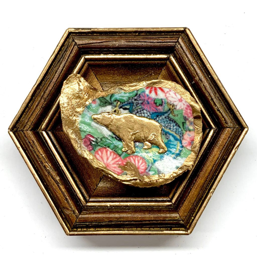 Wooden Frame with Bear on Oyster Shell (4.5