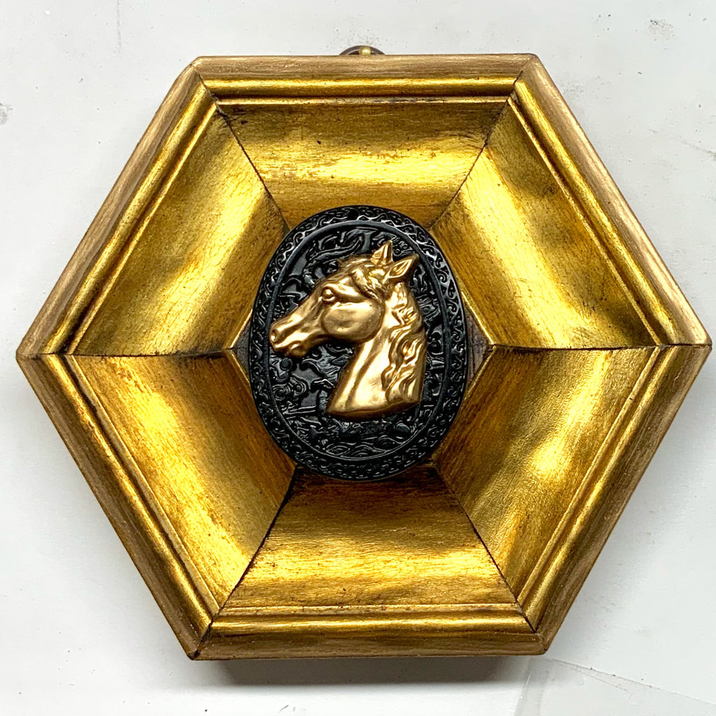 Gilt Frame with Horse on Jade (5.75