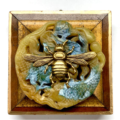 Wooden Frame with Italian Bee on Jade (3.25