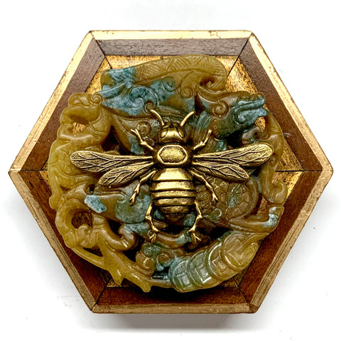 Wooden Frame with Italian Bee on Jade (3.75