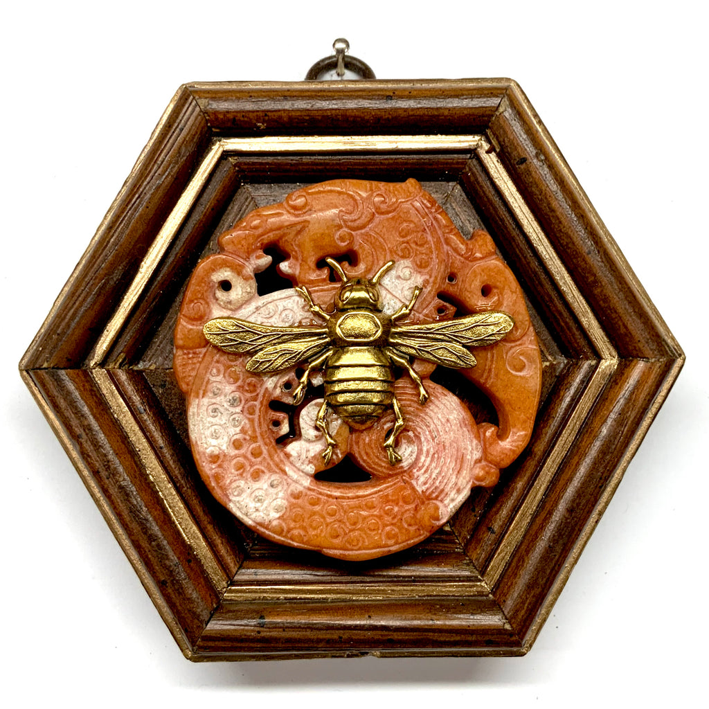 Wooden Frame with Italian Bee on Jade (4.75
