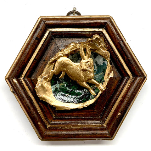 Wooden Frame with Hare on Oyster Shell (4.75