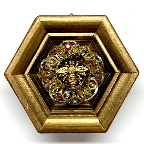 Gilt Frame with Napoleonic Bee on Brooch (3.75