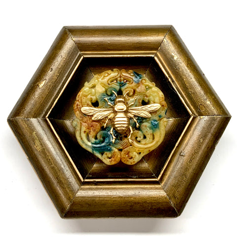 Painted Frame with Italian Bee on Jade (6.25