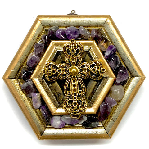 Gilt Frame with Cross and Amethysts (4