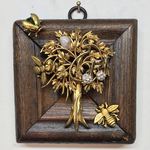 Wooden Frame with Napoleonic Bees on Brooch (3.5