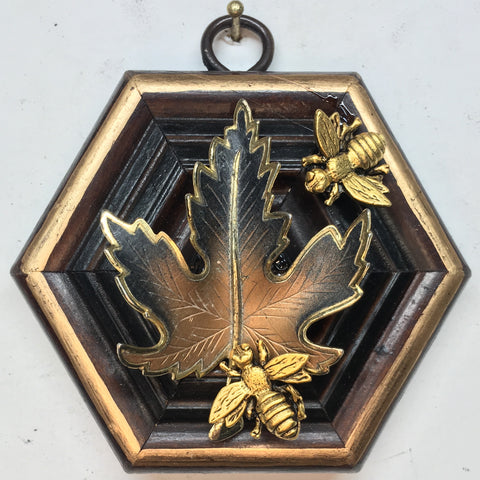 Wooden Frame with Napoleonic Bees on Brooch (3.75