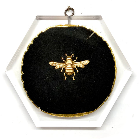 Lucite Block with Italian Bee on Agate (7