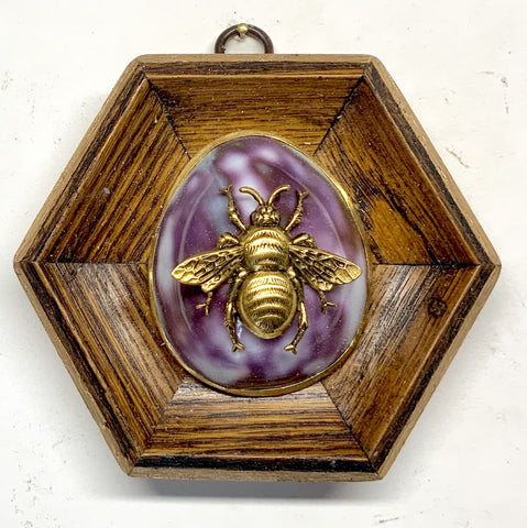 Wooden Frame with Grande Bee on Shell (4.5