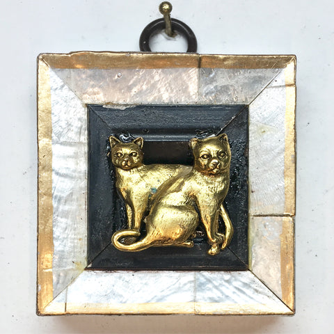 Mother of Pearl Frame with Cats (2.25