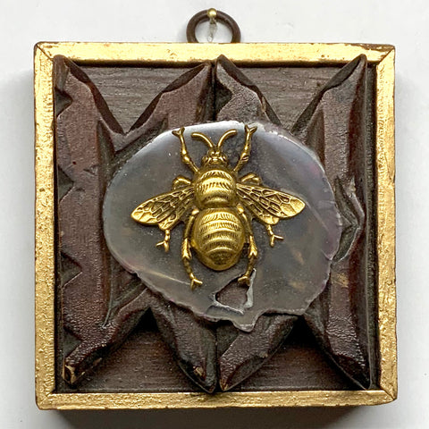 Wooden Frame with Grande Bee on Agate (3.75