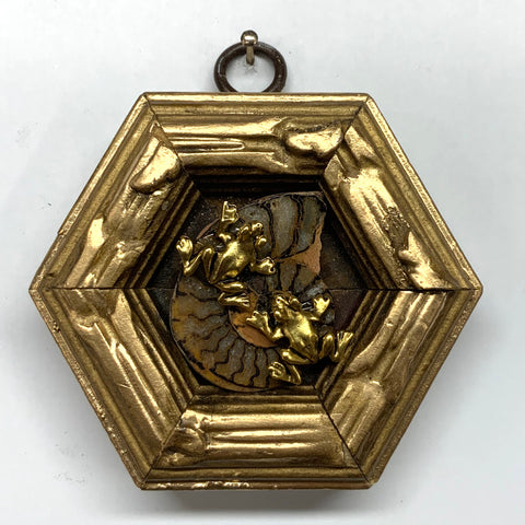 Gilt Frame with Frogs on Ammonite (3.25
