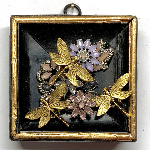Lacquered Frame with Dragonflies on Brooch (4