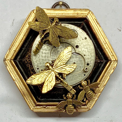Gilt Frame with Dragonflies and Napoleonic Bees on Brooch (3.5