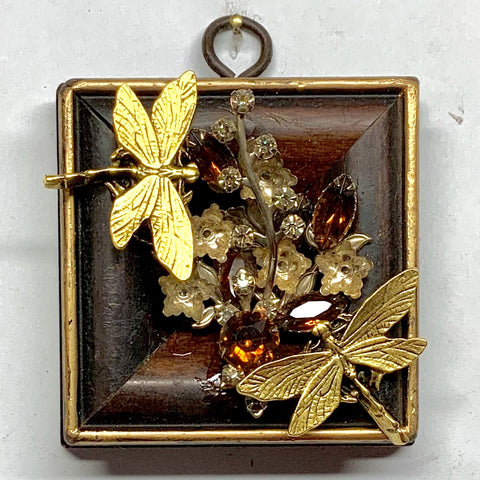 Wooden Frame with Dragonflies on Brooch (4