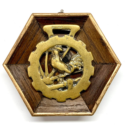 Wooden Frame with Rooster Horse Brass (4.75
