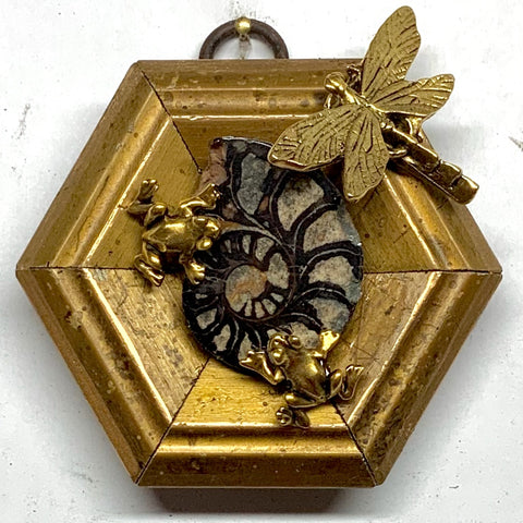 Gilt Frame with Frogs and Dragonfly on Ammonite (3