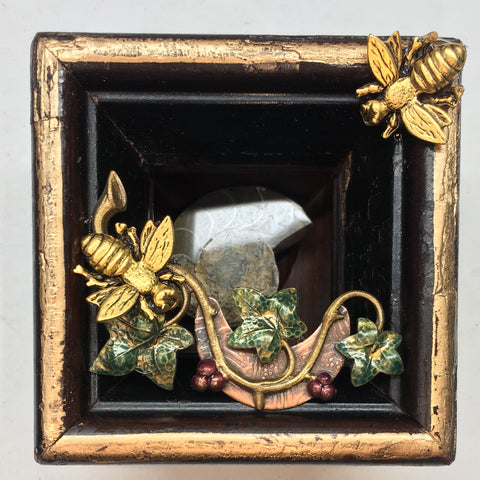 Wooden Frame with Napoleonic Bees on Brooch (2.75