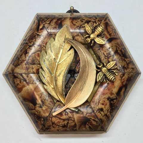 Marbled Frame with Napoleonic Bees on Brooch (4.25