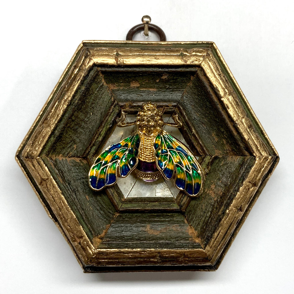 Painted Frame with Enameled Bee (3.5