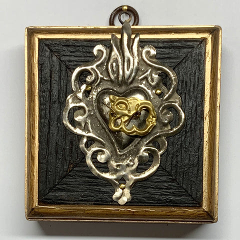 Bourbon Barrel Frame with 19th Century Silver Sacred Heart (3.5