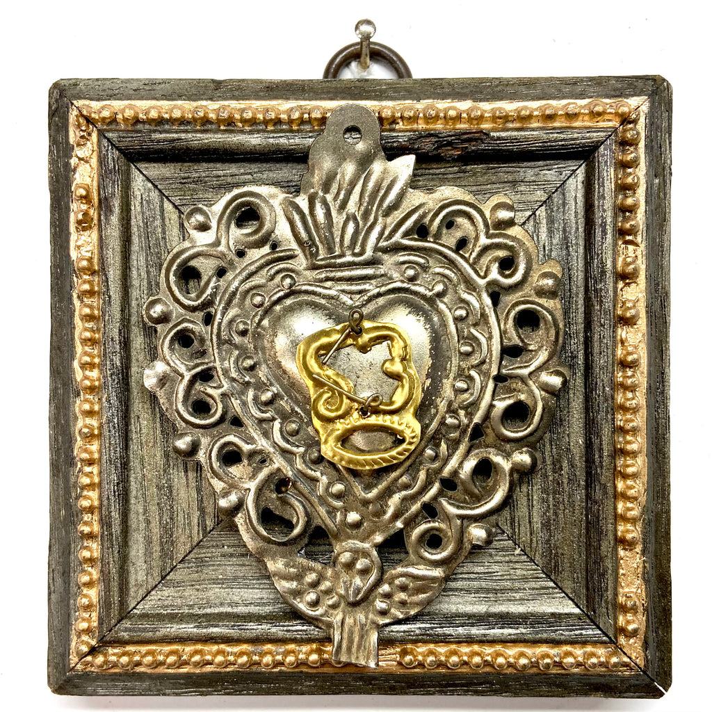 Painted Frame with 19th Century Silver Plated Sacred Heart (4